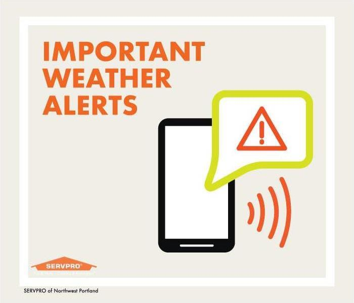 "Text reads: ""Important weather alerts"" graphic of phone with speech bubble with triangle and exclamation sign inside."
