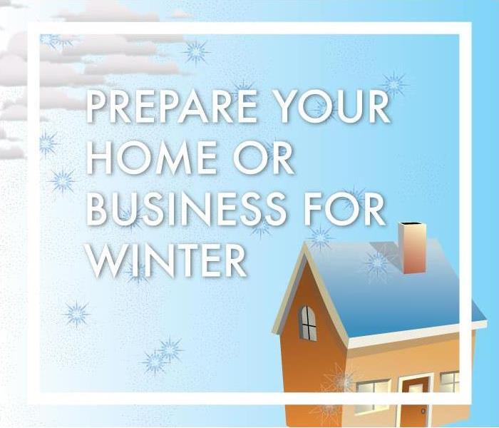 Clouds hang over house and snowflakes fall, graphic reads Prepare your home or business for winter