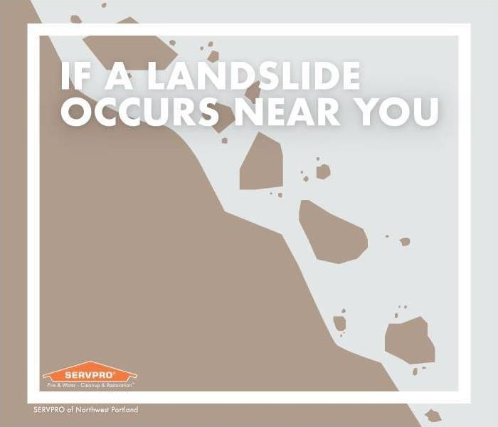 "Text reads: ""if a landslide occurs near you"" graphic of brown hill with rocks falling"