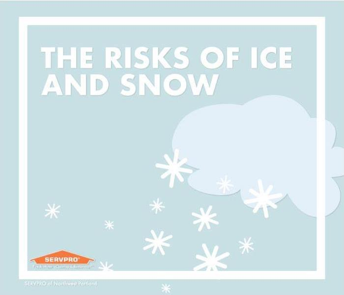 Cloud graphic with snowflakes, text reads the risks of ice and snow